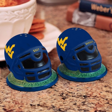 West Virginia Helmet Ceramic Salt and Pepper Shakers