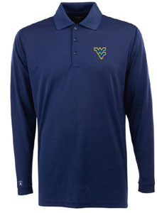 West Virginia Mens Long Sleeve Polo Shirt (Team Color: Navy) - Small