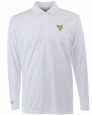 West Virginia Mens Long Sleeve Polo Shirt (Color: White)