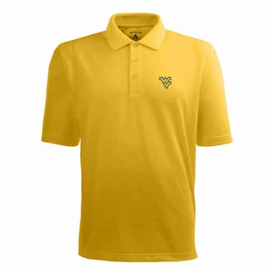 West Virginia Mens Pique Xtra Lite Polo Shirt (Color: Gold)