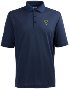 West Virginia Mens Pique Xtra Lite Polo Shirt (Color: Navy) - Medium