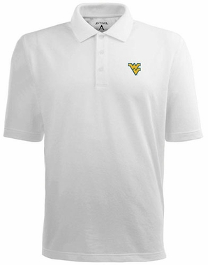 West Virginia Mens Pique Xtra Lite Polo Shirt (Color: White)