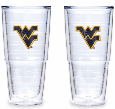 """West Virginia Set of TWO 24 oz. """"Big T"""" Tervis Tumblers"""
