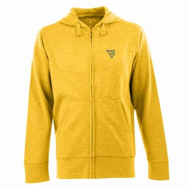 West Virginia Mens Signature Full Zip Hooded Sweatshirt (Color: Gold)