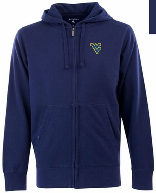 West Virginia Mens Signature Full Zip Hooded Sweatshirt (Team Color: Navy)