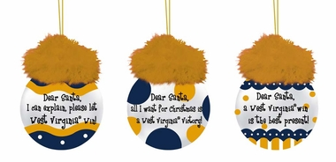 West Virginia Team Sayings Ornament Set
