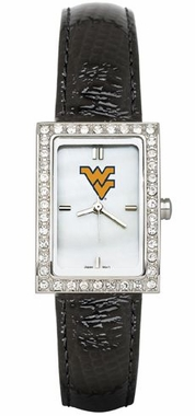 West Virginia Women's Black Leather Strap Allure Watch