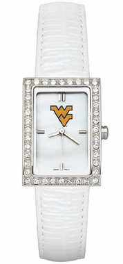 West Virginia Women's White Leather Strap Allure Watch
