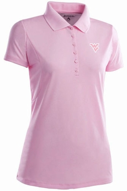 West Virginia Womens Pique Xtra Lite Polo Shirt (Color: Pink)