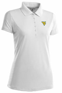 West Virginia Womens Pique Xtra Lite Polo Shirt (Color: White) - Medium