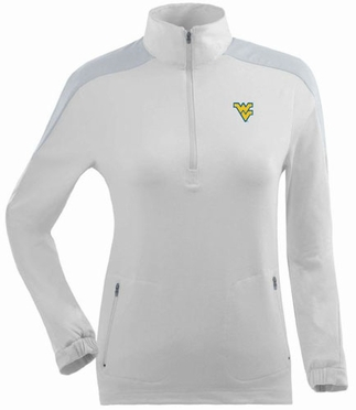 West Virginia Womens Succeed 1/4 Zip Performance Pullover (Color: White)
