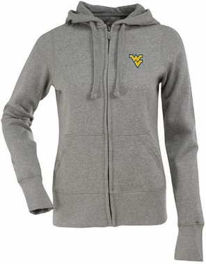 West Virginia Womens Zip Front Hoody Sweatshirt (Color: Gray)