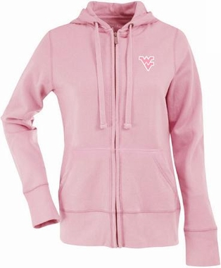 West Virginia Womens Zip Front Hoody Sweatshirt (Color: Pink)