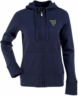 West Virginia Womens Zip Front Hoody Sweatshirt (Color: Navy)