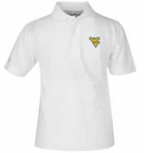 West Virginia YOUTH Unisex Pique Polo Shirt (Color: White) - Large