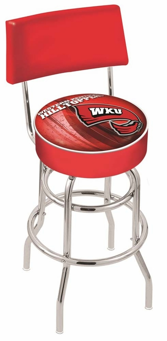 Western kentucky 25 inch l7c4 chrome double ring with back bar stool