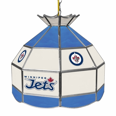 Winnipeg Jets 16 Inch Diameter Stained Glass Pub Light