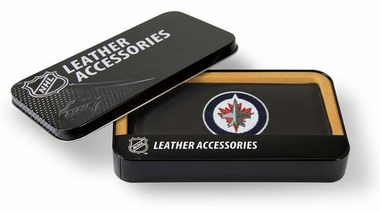 Winnipeg Jets Embroidered Leather Checkbook Cover