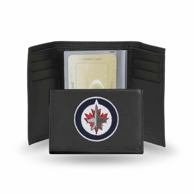 Winnipeg Jets Embroidered Leather Tri-Fold Wallet