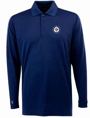 Winnipeg Jets Mens Long Sleeve Polo Shirt (Color: Navy)