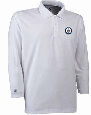 Winnipeg Jets Mens Long Sleeve Polo Shirt (Color: White)