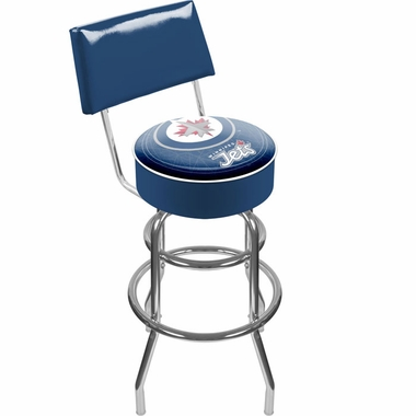 Winnipeg Jets Padded Bar Stool with Back