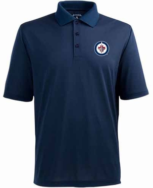 Winnipeg Jets Mens Pique Xtra Lite Polo Shirt (Team Color: Navy)