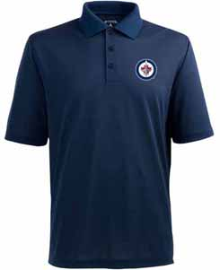 winnipeg jets mens pique xtra lite polo shirt color navy
