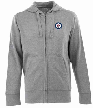 Winnipeg Jets Mens Signature Full Zip Hooded Sweatshirt (Color: Gray)