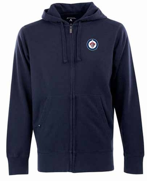 Winnipeg Jets Mens Signature Full Zip Hooded Sweatshirt (Team Color: Navy)