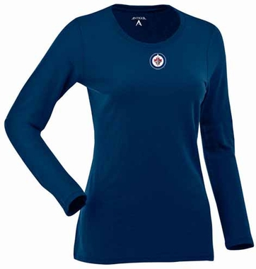 Winnipeg Jets Womens Relax Long Sleeve Tee (Team Color: Navy)