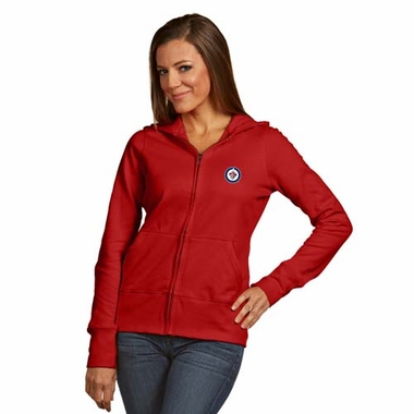 Winnipeg Jets Womens Zip Front Hoody Sweatshirt (Color: Red)