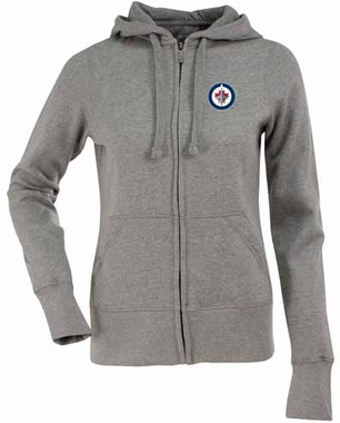 Winnipeg Jets Womens Zip Front Hoody Sweatshirt (Color: Gray)