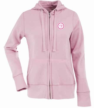 Winnipeg Jets Womens Zip Front Hoody Sweatshirt (Color: Pink)