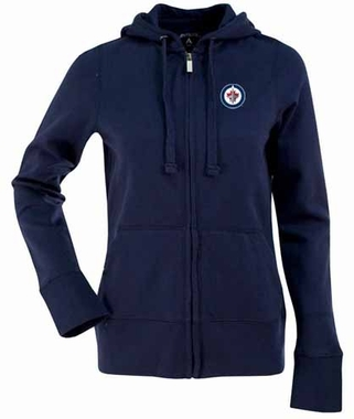 Winnipeg Jets Womens Zip Front Hoody Sweatshirt (Team Color: Navy)