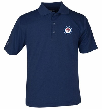 Winnipeg Jets YOUTH Unisex Pique Polo Shirt (Team Color: Navy)