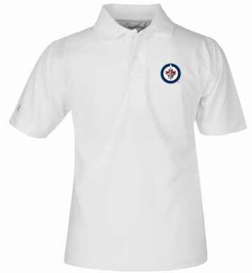 Winnipeg Jets YOUTH Unisex Pique Polo Shirt (Color: White)