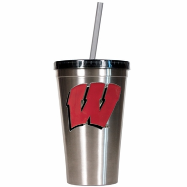 Wisconsin 16oz Stainless Steel Insulated Tumbler with Straw