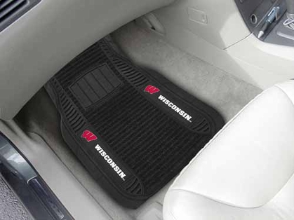 Wisconsin 2 Piece Heavy Duty DELUXE Vinyl Car Mats