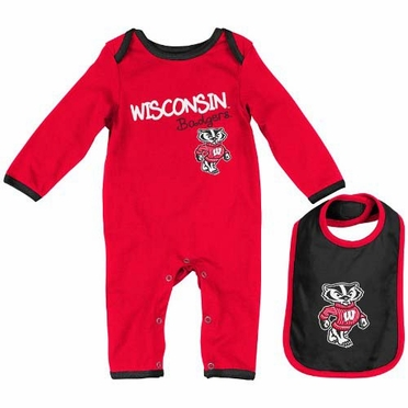 "Wisconsin Badgers Infant ""Tuck"" Romper & Bib Set"