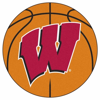 Wisconsin 27 Inch Basketball Shaped Rug
