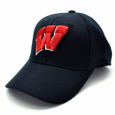 Wisconsin Black Premium FlexFit Baseball Hat