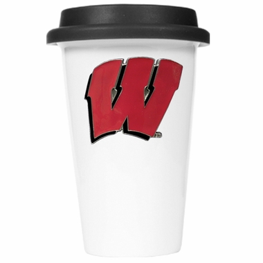 Wisconsin Ceramic Travel Cup (Black Lid)