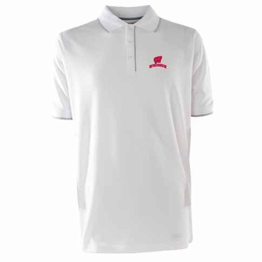 Wisconsin Mens Elite Polo Shirt (Color: White)
