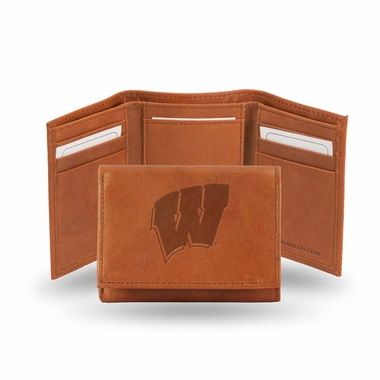 Wisconsin Embossed Leather Trifold Wallet