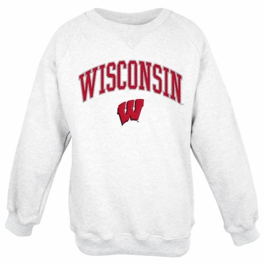 Wisconsin Embroidered Crew Sweatshirt (White)