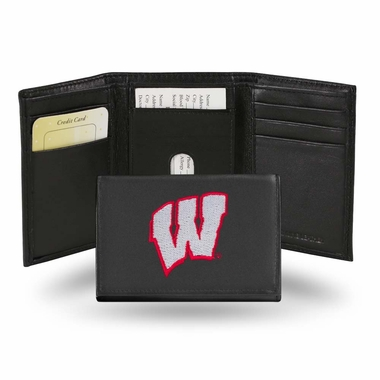 Wisconsin Embroidered Leather Tri-Fold Wallet