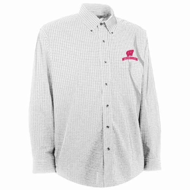 Wisconsin Mens Esteem Check Pattern Button Down Dress Shirt (Color: White)
