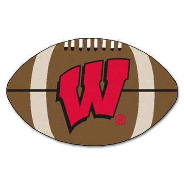 Wisconsin Football Shaped Rug