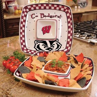 Wisconsin Gameday Ceramic Chip and Dip Platter